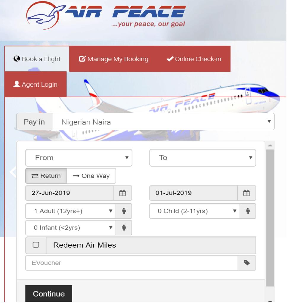 Air Peace Online Flight Booking